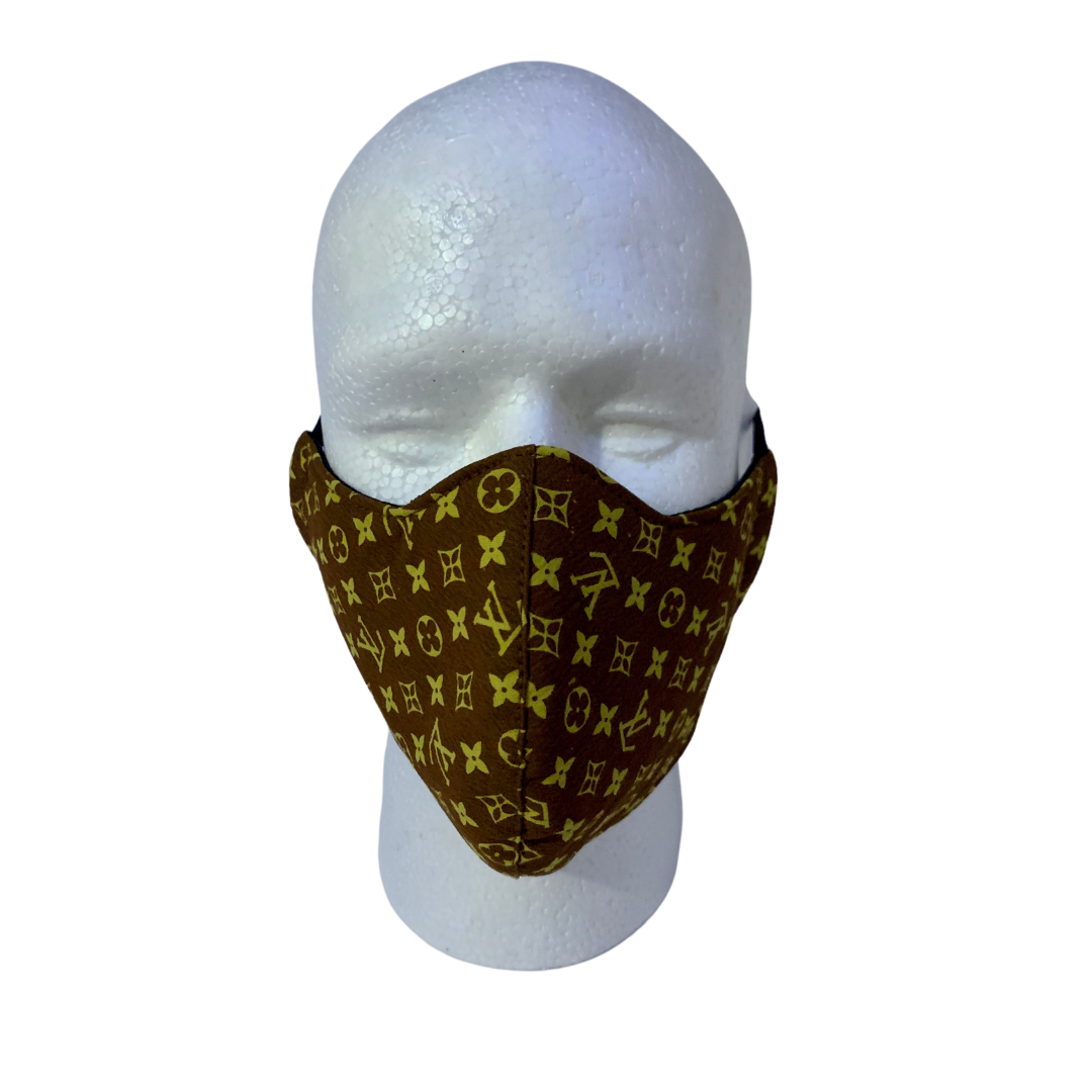 Designer Inspired Face Mask - LV Brown