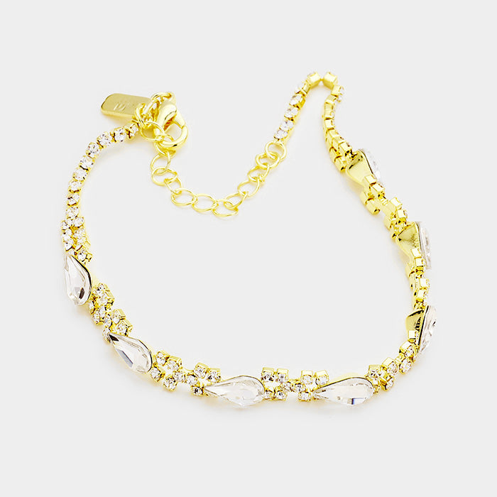 Teardrop Crystal Anklet - Clear / Gold