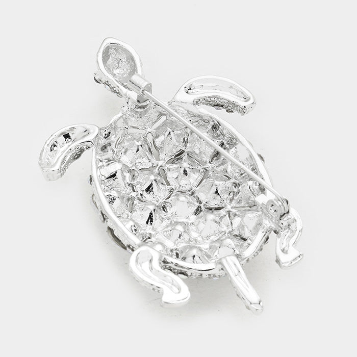 Crystal Sea Life Turtle Pin Brooch - AB