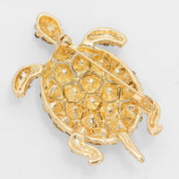 Crystal Sea Life Turtle Pin Brooch - Gold