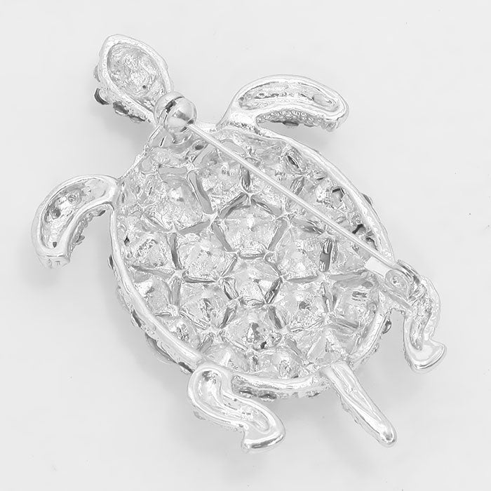 Crystal Sea Life Turtle Pin Brooch - Silver