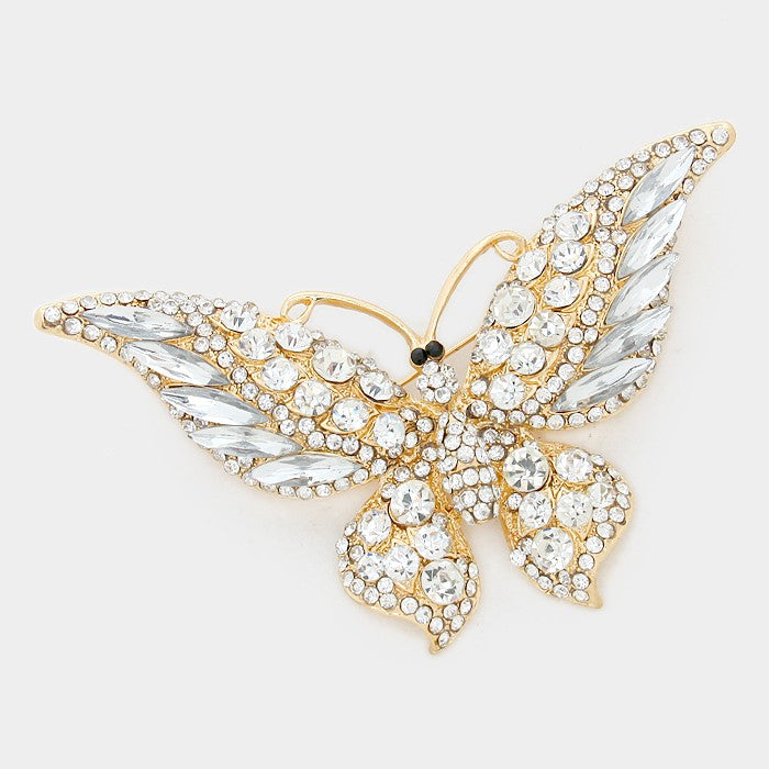 Crystal Butterfly Pin Brooch - Gold/Clear