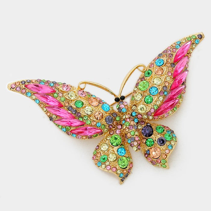 Crystal Butterfly Pin Brooch - Gold/Multi