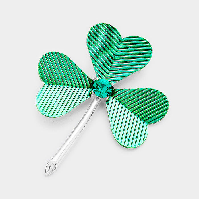 Stone Accented Clover Pin Brooch