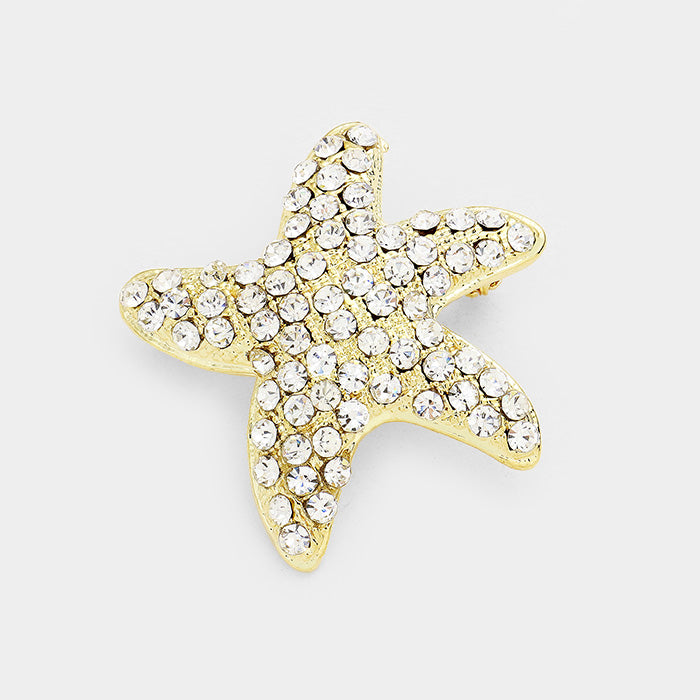 Crystal Starfish Pin Brooch