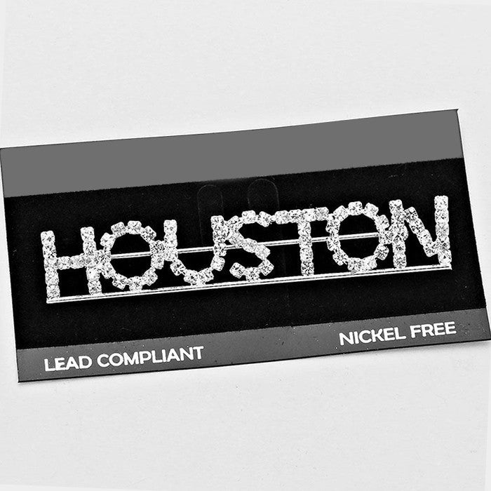 """Houston"" Crystal Pin Brooch"
