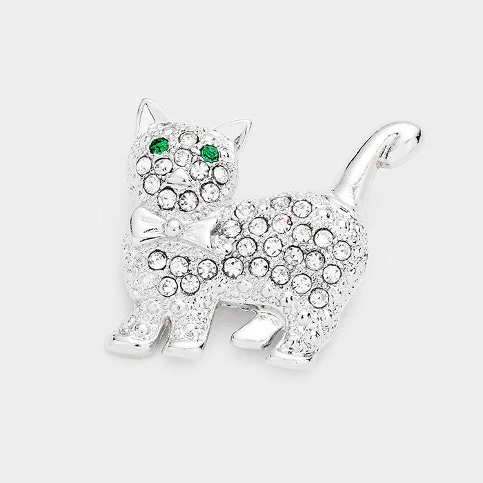 Crystal Cute Cat Pin Brooch