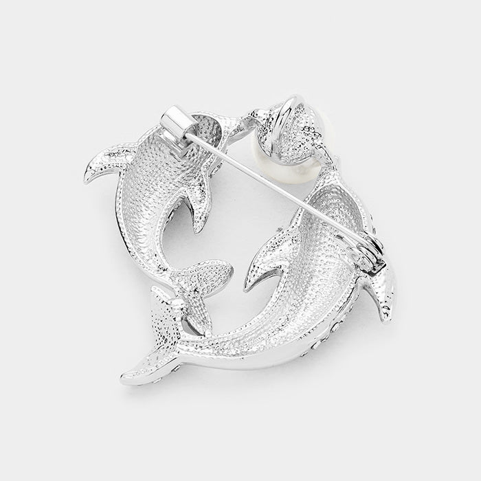 Pearl Twin Dolphin Pin Brooch
