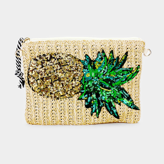 Sequin Pineapple Straw Clutch