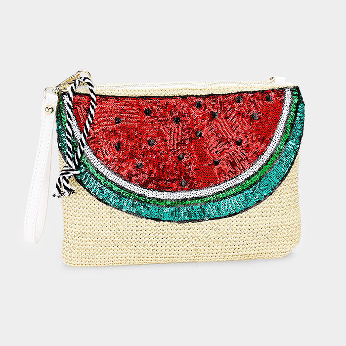 Sequin Watermelon Straw Clutch