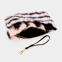 Molly Faux Fur Striped Clutch Bag