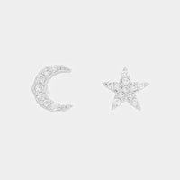 CZ Star & Moon Stud Earrings