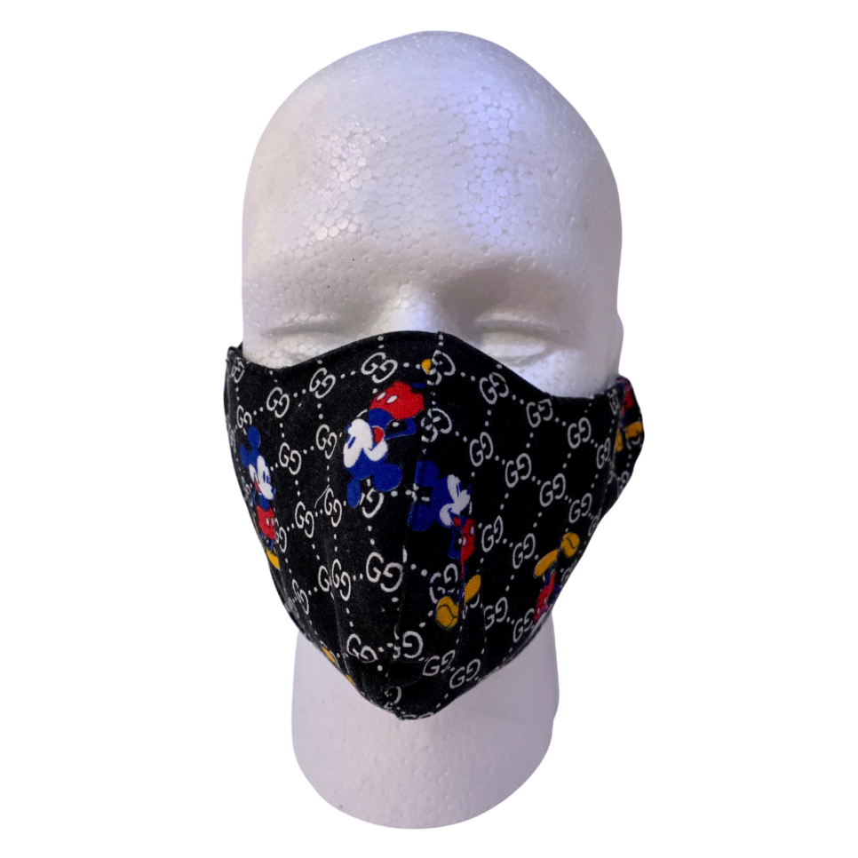 Designer Inspired Face Mask - GG Mickey Mouse Black