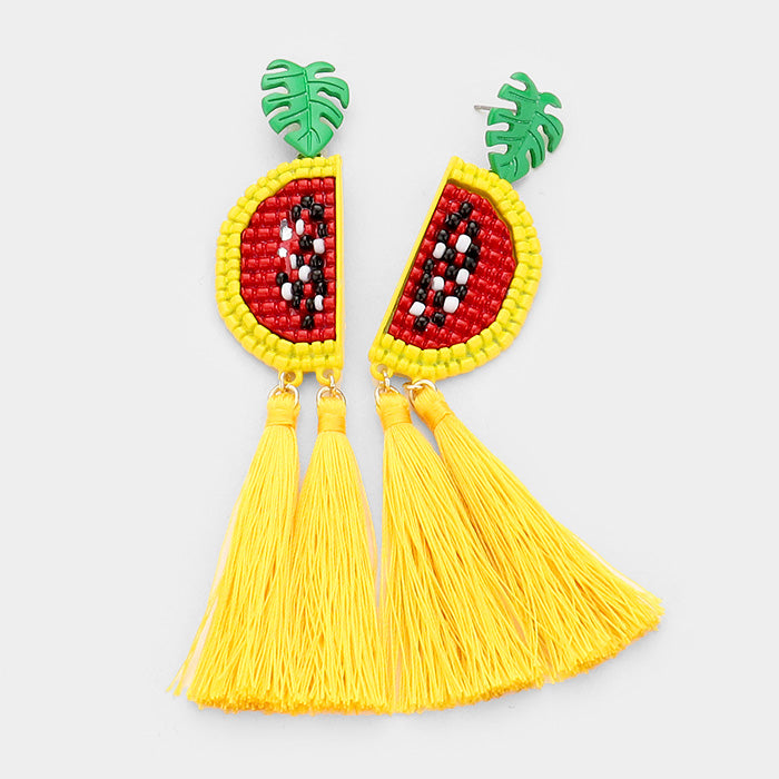 Beaded Metal Watermelon Fruit Double Tassel Dangle Earrings - Yellow