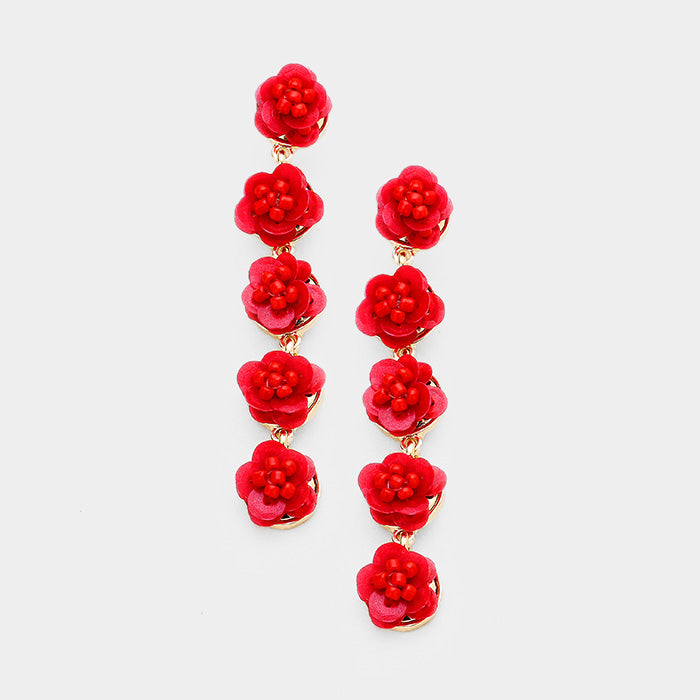 Layered Sequin Flower Link Dangle Earrings - Red
