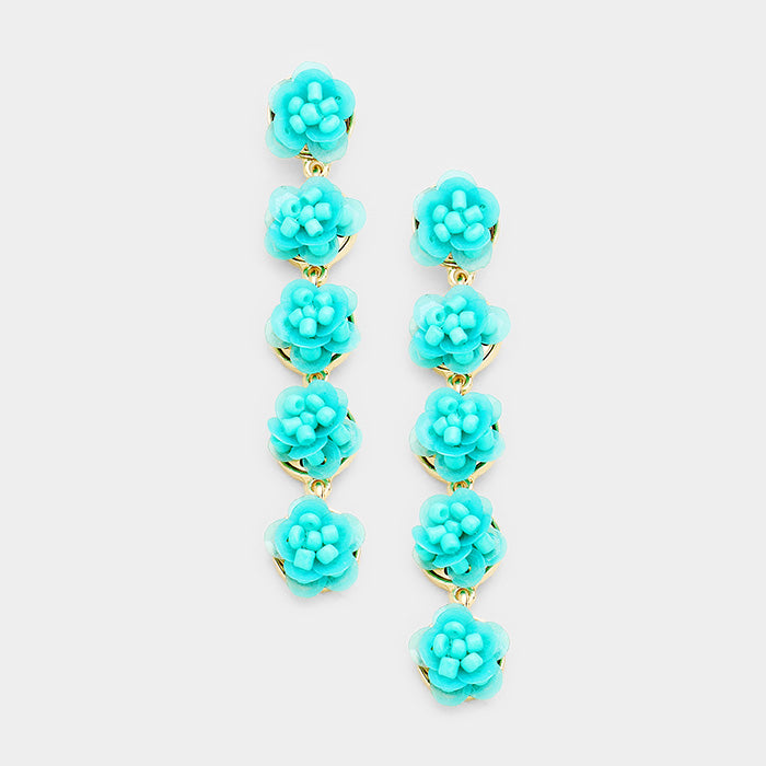 Layered Sequin Flower Link Dangle Earrings - Turquoise