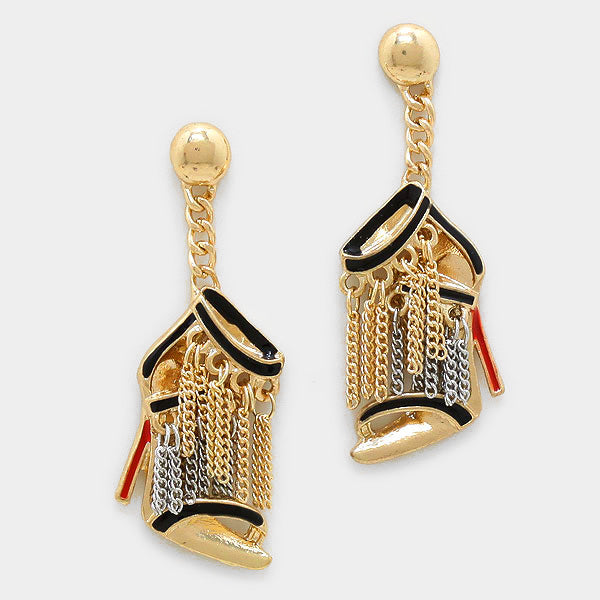 Stiletto Heel Metal Chain Fringe Dangle Earrings - Gold