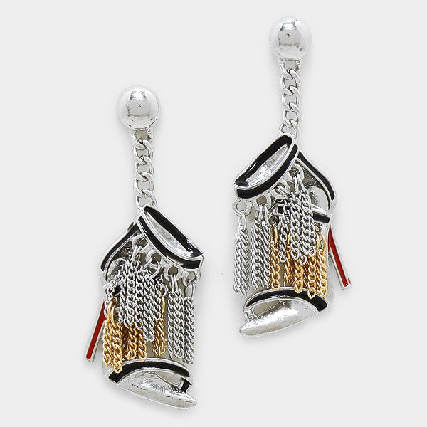 Stiletto Heel Metal Chain Fringe Dangle Earrings - Silver