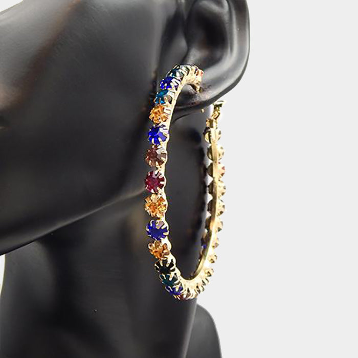 In Living Color Rhinestone Hoop Earrings - Gold / Multi