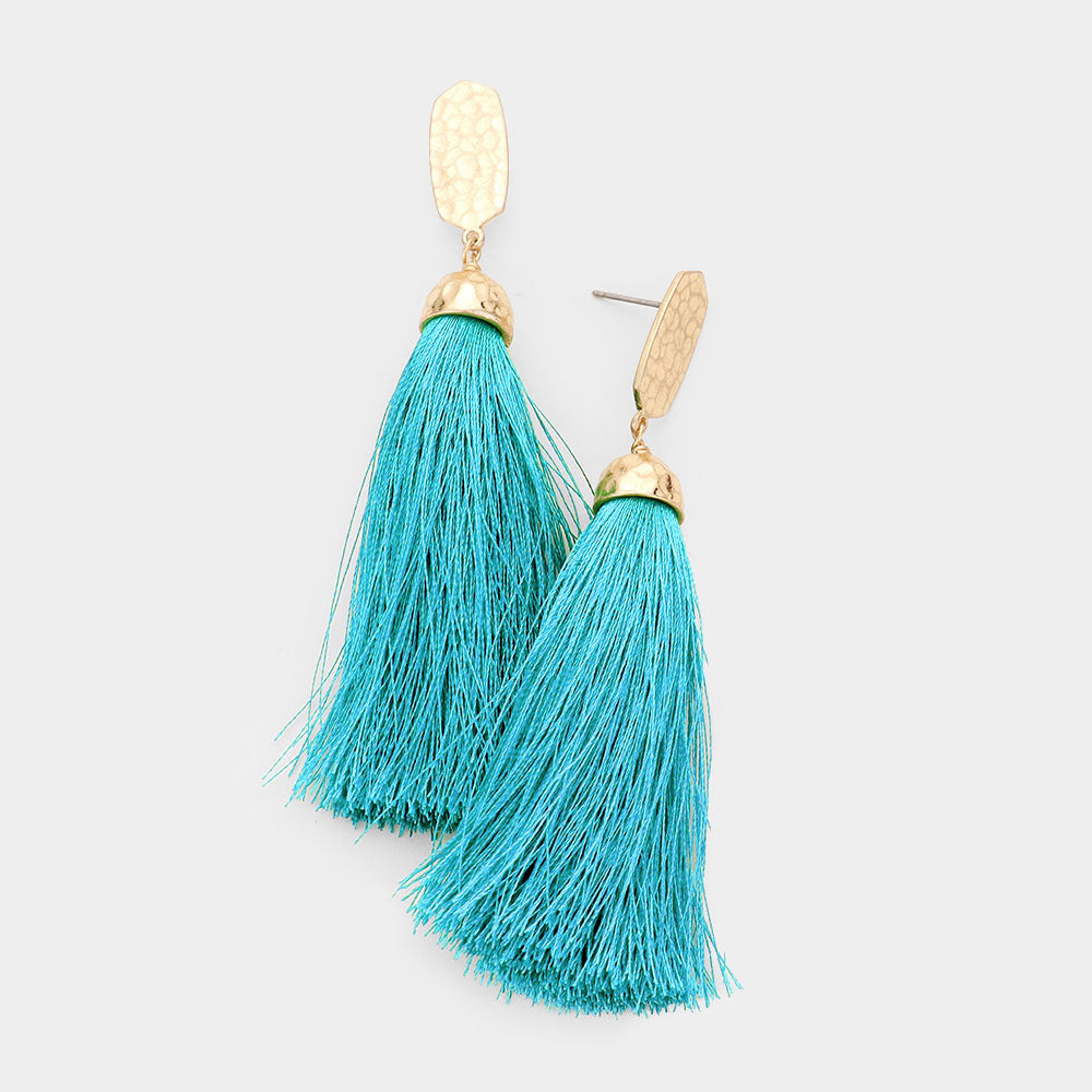 Fringy Hammered Metal Hexagon Long Tassel Drop Earrings