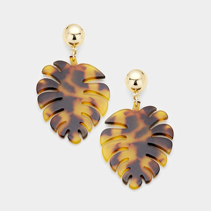Tropical Leaf Dangle Earrings - Brown