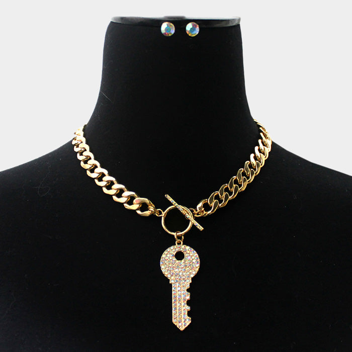 Key To My Heart Earring And Necklace Set - Gold/AB