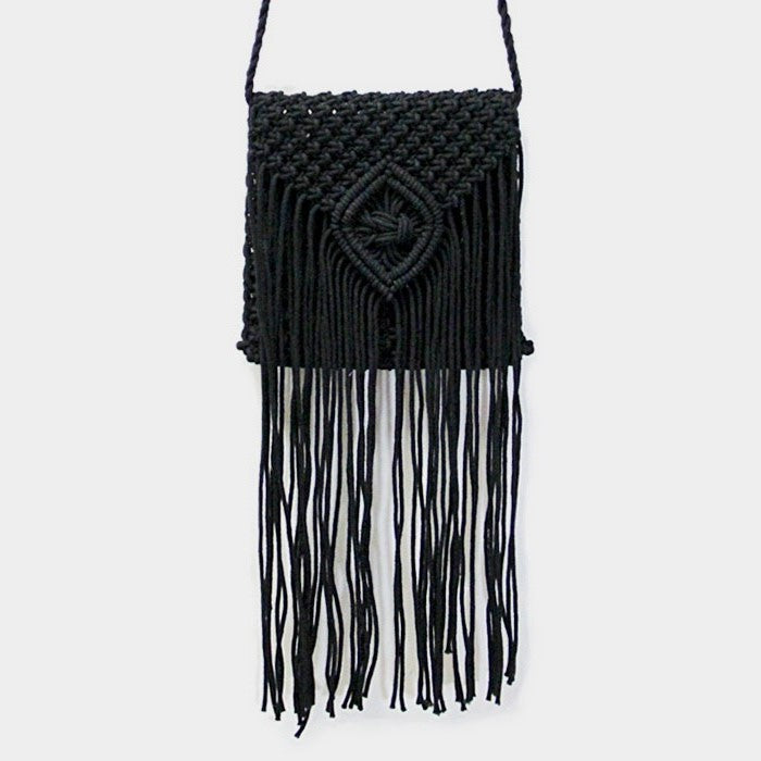 Lea Crochet Fringe Crossbody Bag - Black
