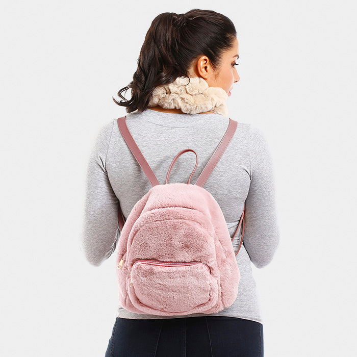 Solid Fluffy Faux Fur Backpack