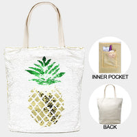 Pineapple Flip Gold Sequin Tote Bag