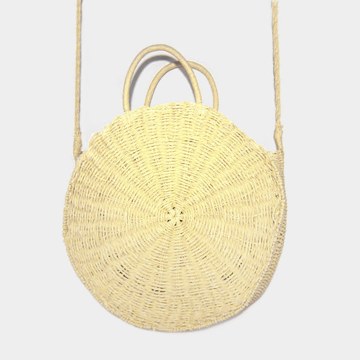 Soft Straw Round Crossbody Tote Bag - Ivory