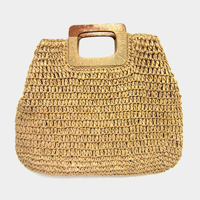 Crochet Straw Rectangle Wood Handle Tote Bag - Tan