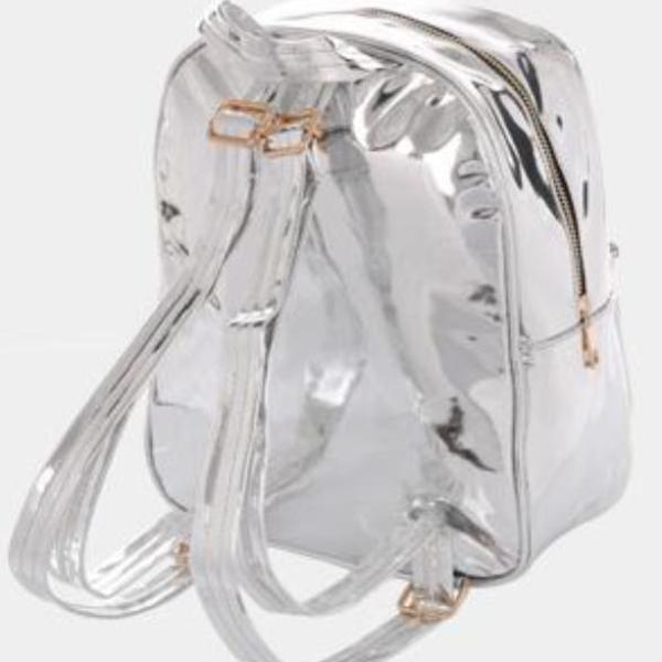 Lux Patent Backpack Bag - Silver