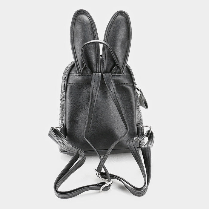 Sequin Bunny Ears Mini Backpack - Black