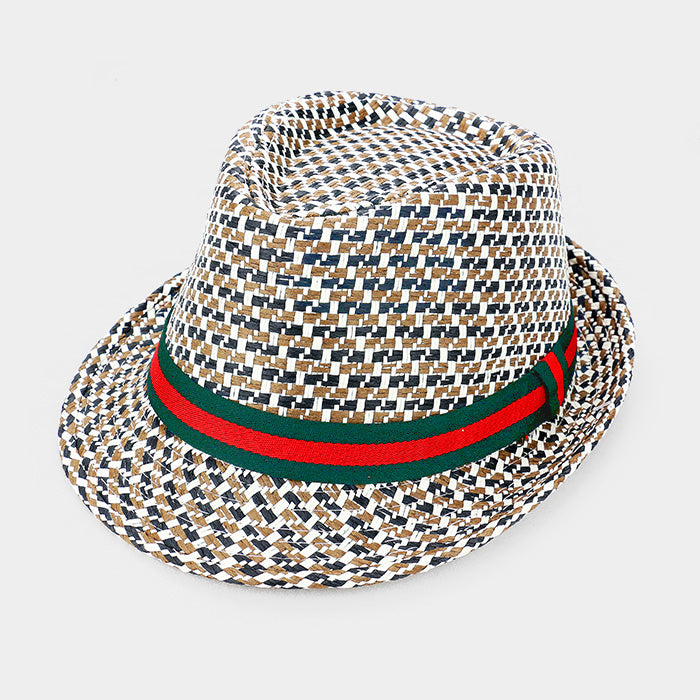 GG Ribbon Straw Fedora Hat