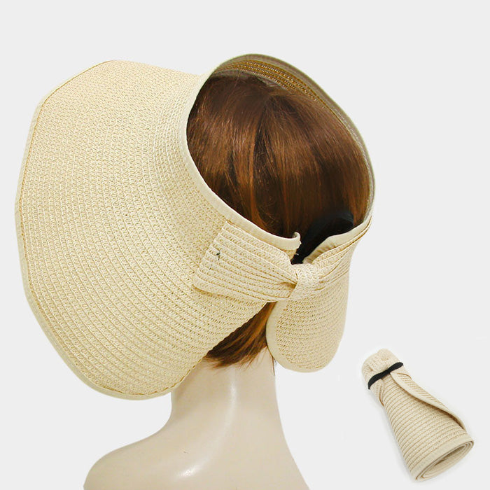Roll Up Foldable Large Brim Sun Visor Hat - Beige
