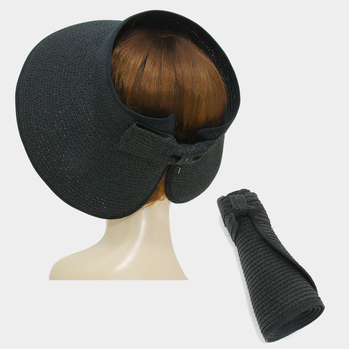 Roll Up Foldable Large Brim Sun Visor Hat - Black
