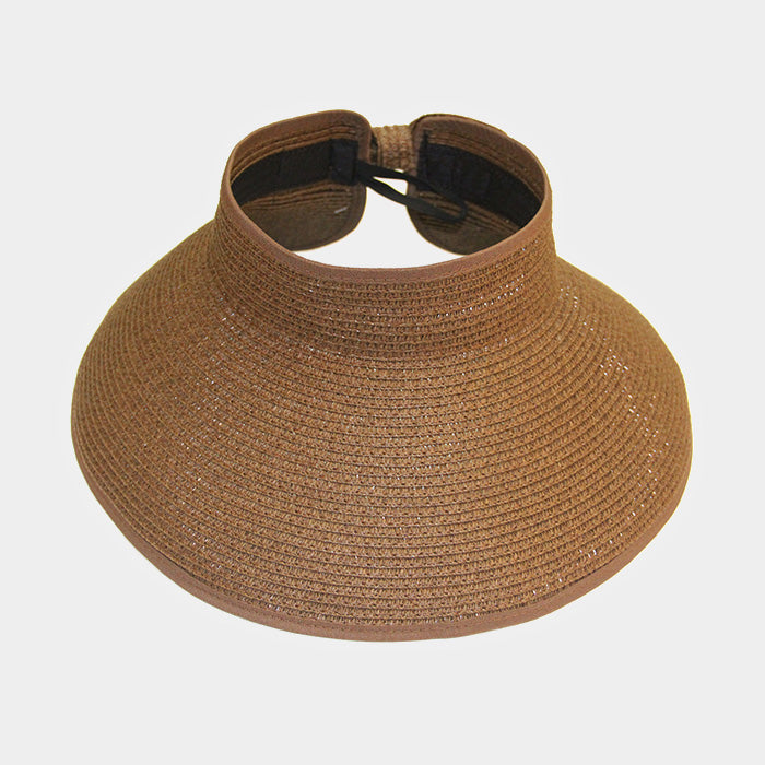 Roll Up Foldable Large Brim Sun Visor Hat - Khaki
