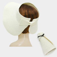 Roll Up Foldable Large Brim Sun Visor Hat - Ivory