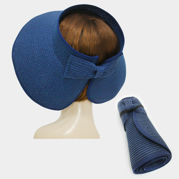 Roll Up Foldable Large Brim Sun Visor Hat - Navy Blue