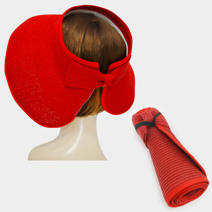 Roll Up Foldable Large Brim Sun Visor Hat - Red