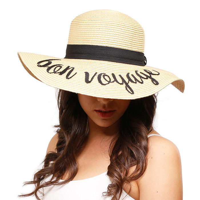 """Bon Voyage"" Embroidery Straw Floppy - Sun Hat"