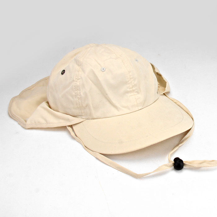 Sun Protection Cap Hat With Flap Neck Cover - Beige