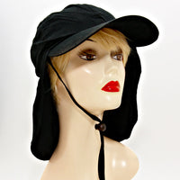 Sun Protection Cap Hat With Flap Neck Cover - Black