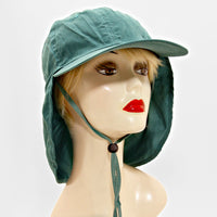 Sun Protection Cap Hat With Flap Neck Cover - Green