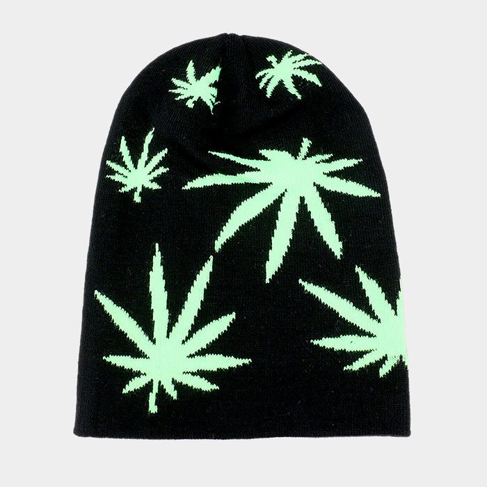 Marijuana Leaf Knit Beanie Hat