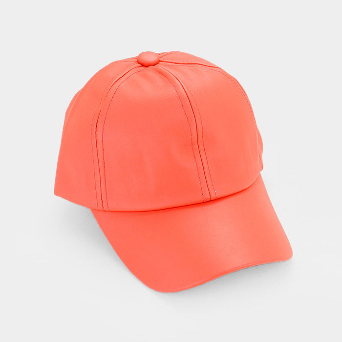 Solid Faux Leather Baseball Cap - Coral