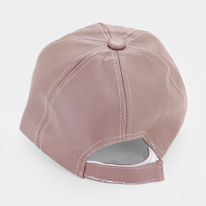 Solid Faux Leather Baseball Cap - Mauve Purple