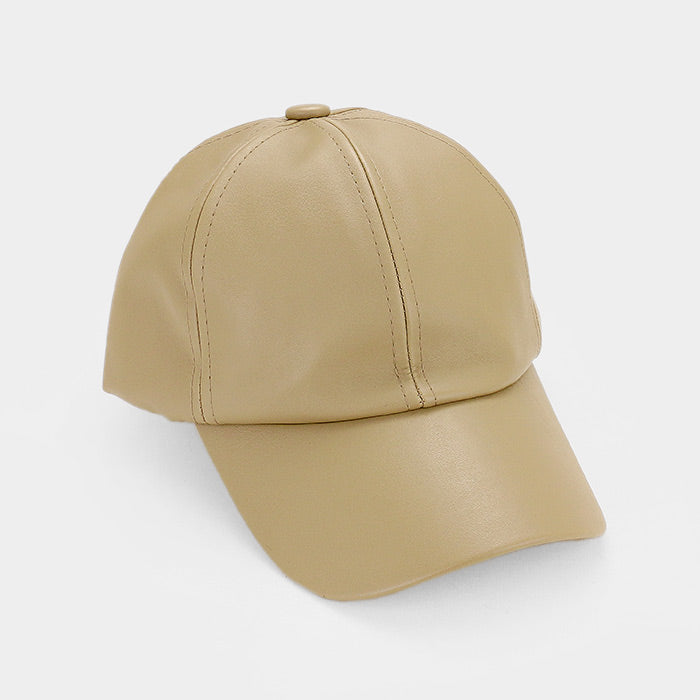 Solid Faux Leather Baseball Cap - Tan