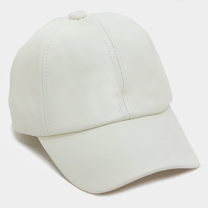 Solid Faux Leather Baseball Cap - White