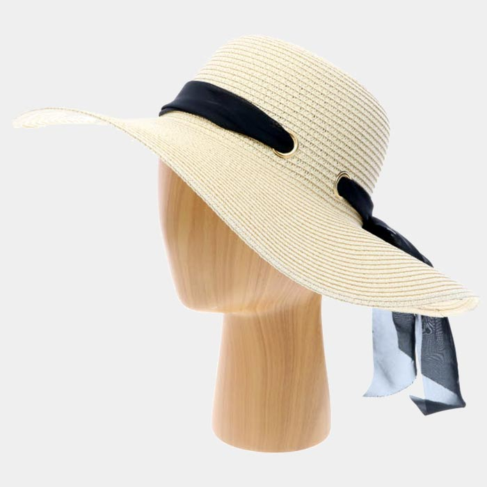 Straw Sun Hat With Bow - Beige